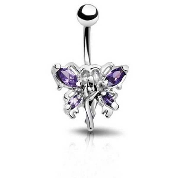 Bling Jewelry Lilac Wings Charmer Body Jewelry ($9.99) ❤ liked on Polyvore featuring jewelry, belly button piercings, body jewelry, body-piercing-rings, purple, stainless steel jewelry, purple jewelry, imitation jewellery and fake jewelry