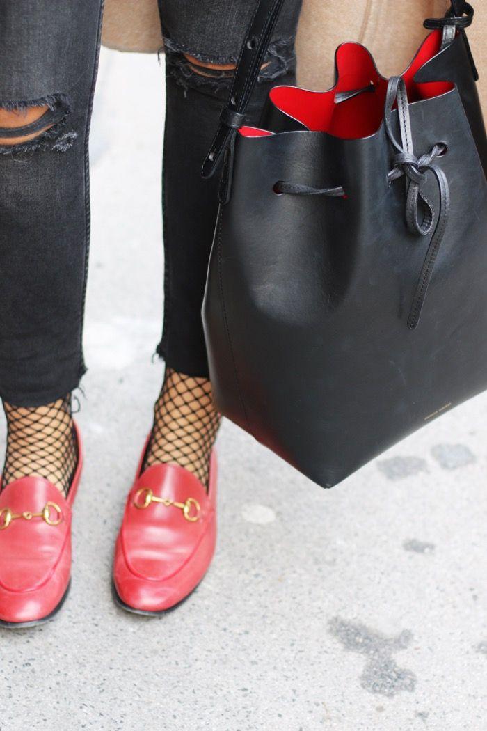 Fishnet Ankle Socks | Mansur Gavriel Bucket Bag | Gucci Jordaan | Veiled Beanie | Camel Coat | Fashionnes | http://fashionnes.com/fish-net-ankle-socks-gucci-jordaan-veiled-beanie/