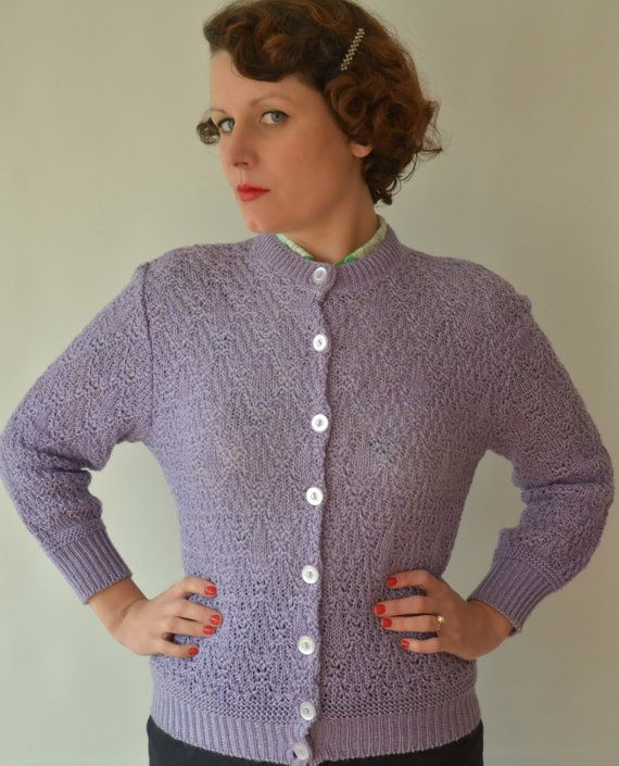 SOLD: Gorgeous Lilac Linen 1950s Pin Up Cardigan by Helen Harper