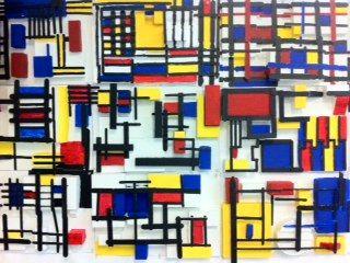 Room 9: Art!: Mondrian In Low Relief popsicile sticks 3D mondrian