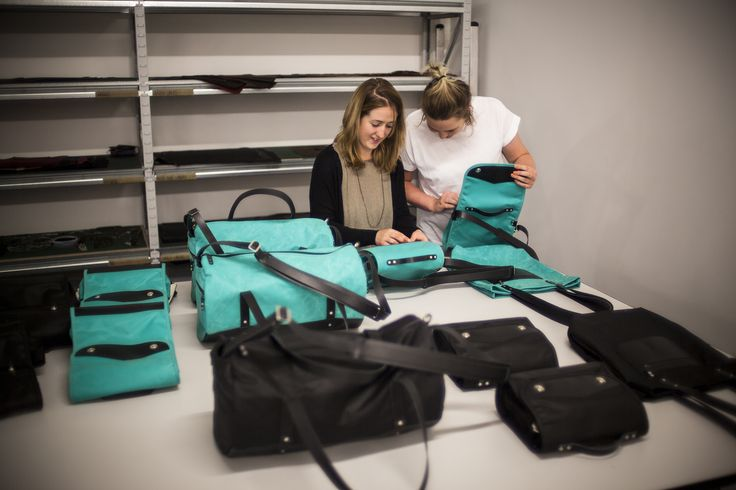 Each and every bag gets individual attention before shipping. Here, Rowan and Katy check through a batch of new bags, ensuring there are no faults or inconsistencies.