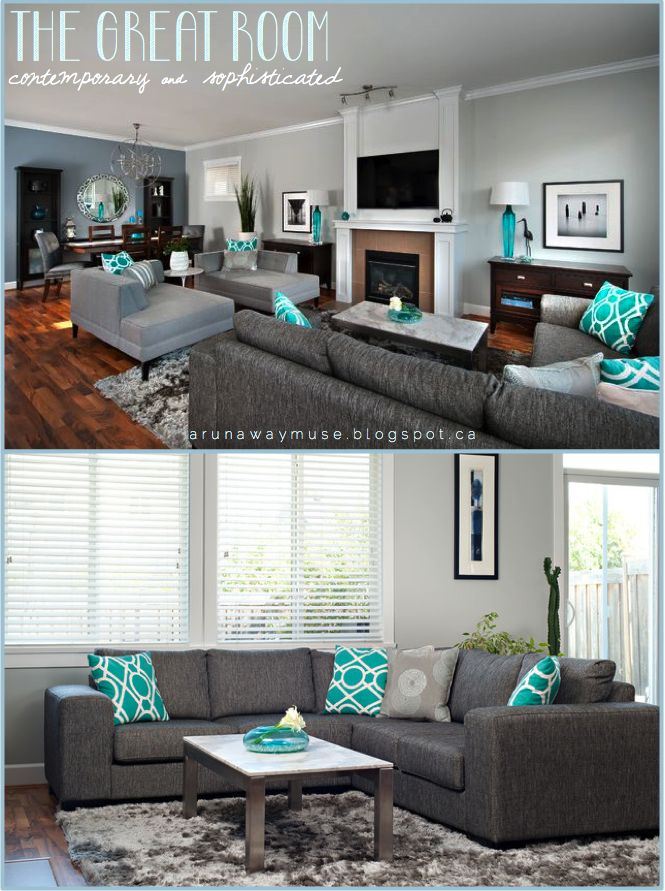 Living Room With Gray Furniture Part - 33: A Runaway Muse: Project Spotlight: Character Home Up-Do #grey #turquoise.  Teal Grey Living RoomGrey ...