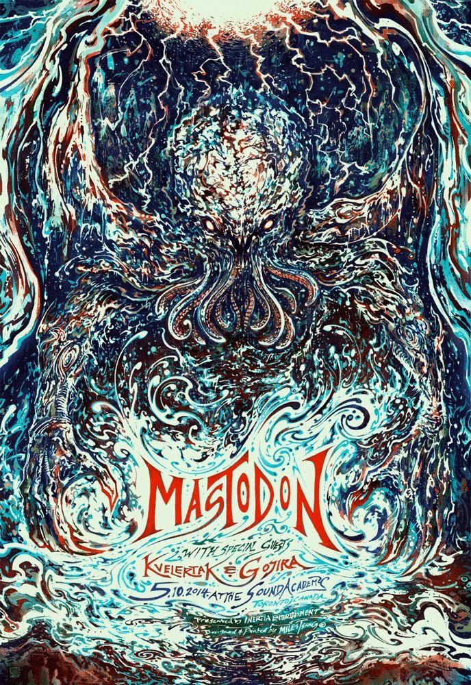 Mastodon gig poster illustrated and screen-printed by Miles Tsang. Process: http://www.milestsang.com/2014/05/gig-poster-mastodon-gojira-kvelertak/ Purchase: http://milestsang.bigcartel.com/product/mastodon-gojira-kvelertak-05-10-2014