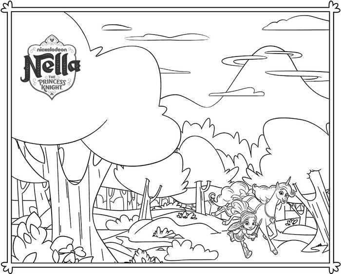 Nella The Princess Knight And Trinket Coloring Page Coloring Pages Cartoon Coloring Pages Princess Coloring Pages