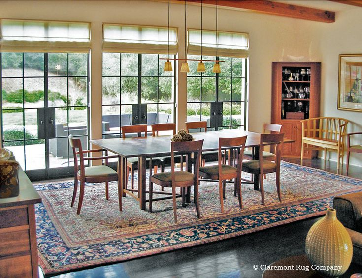 A Showpiece Century Sultanabad Persian Carpet Provides Stirring Counterpoint To The Elegant Lines Of Contemporary Dining Room