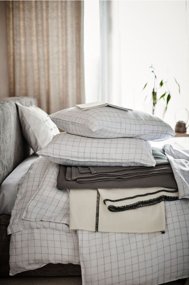 Washed Linen Duvet Cover Set White Checked Home All H M Us Contemporary Bed Linen Washed Linen Duvet Cover Bed Linen Sets