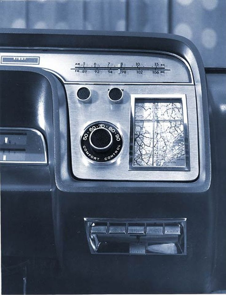 Dashboard detail of the 1964 Ford Aurora concept car, with arguably the first in-car navigation device!