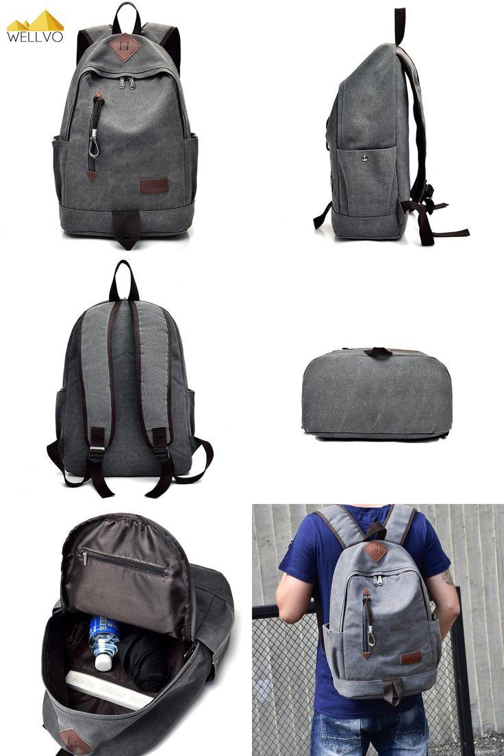[Visit to Buy] Men Canvas Backpack Teenage Boys School Bag Laptop Backpacks Students Casual Travel Large Rucksack Book Bags Brown Black XA1916C #Advertisement