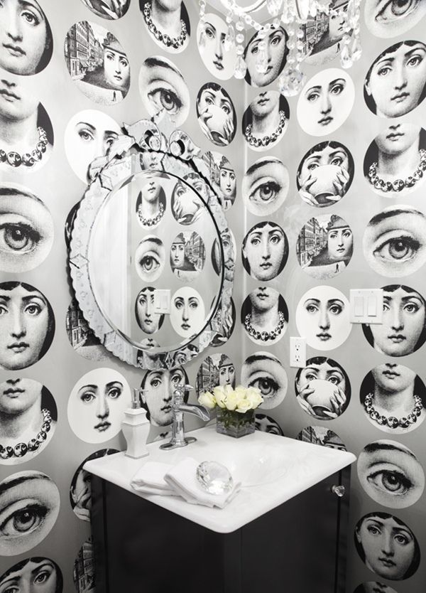   P   Antique with Modern - Powder Room with Fornasetti Wallpaper + Venetian Glass Mirror
