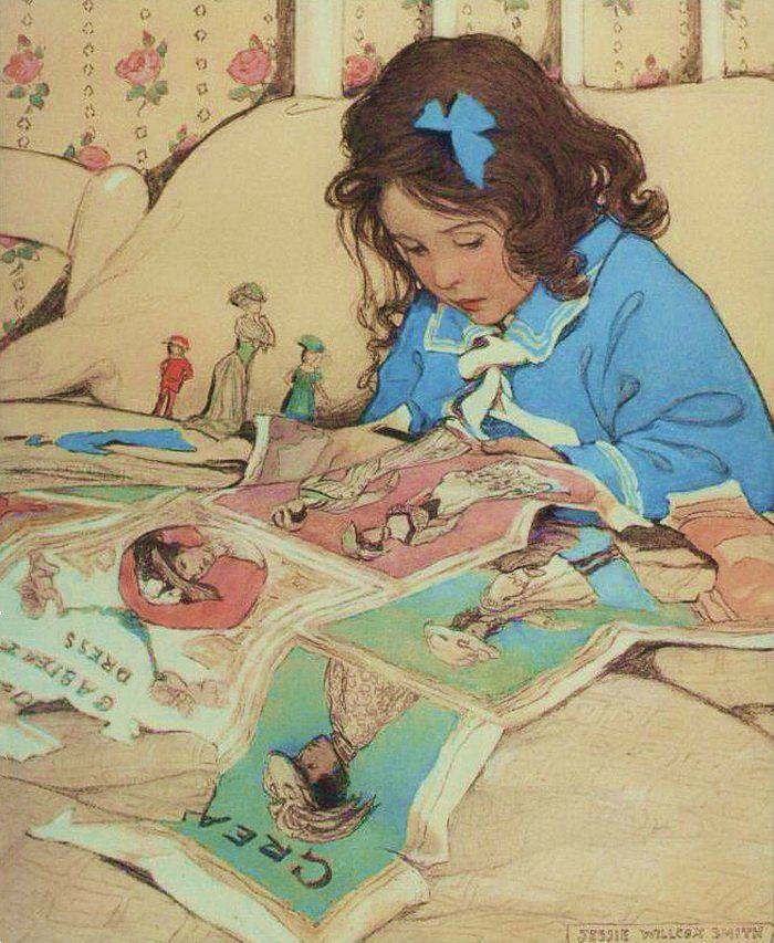 Jessie Willcox Smith ~ ~ ~ this reminds me of me!  I played with paper dolls as a child  :-)