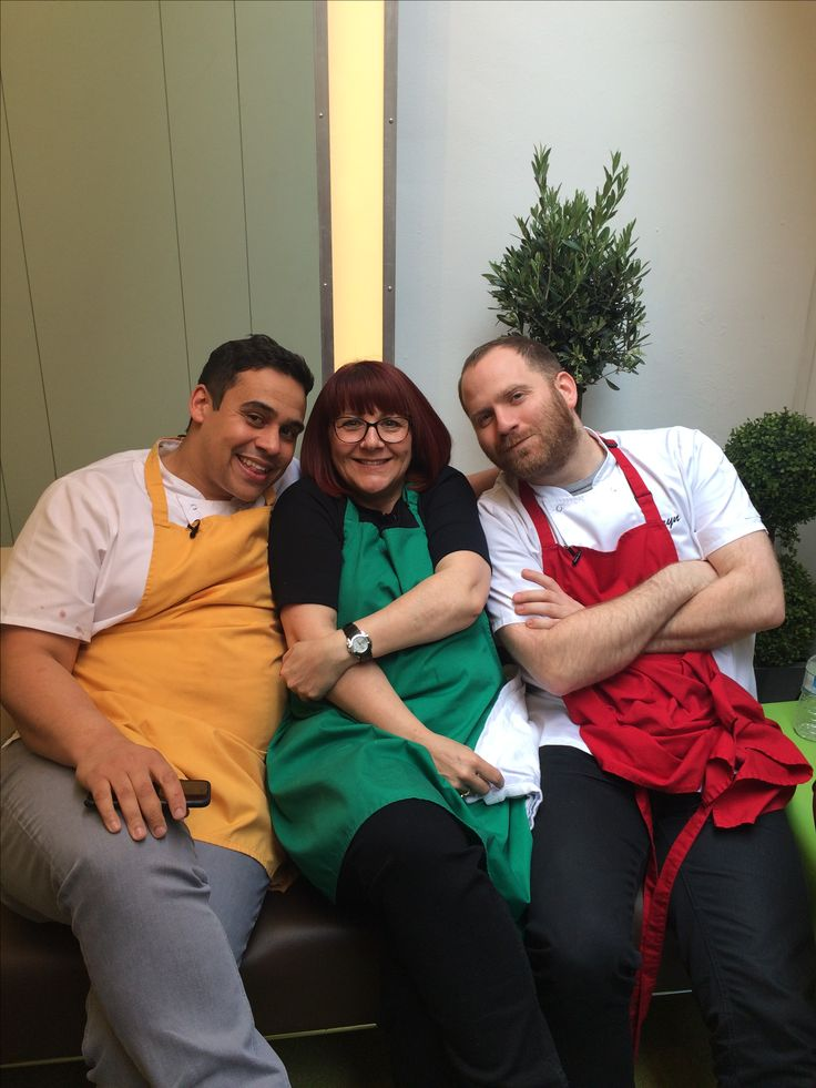 Having fun with the boys, Michelin starred chefs, Paul Ainsworth and Bryn Williams.