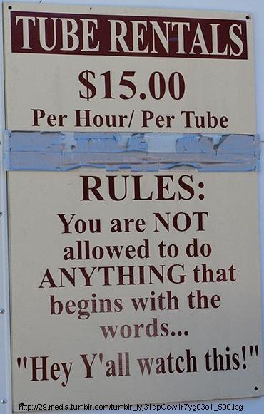 tubing rules