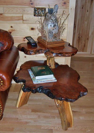 Rustic Two Tier Side Table #handmadefurniture Cottage Furniture in