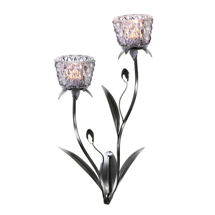 Silver Beaded Tulip Flower Votive Candleholder Wall Sconce ... on Wall Sconces That Hold Flowers id=62208