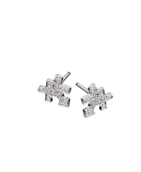 Akillis Mini Puzzle White Gold Clip Earrings l6O0Lj7WxU