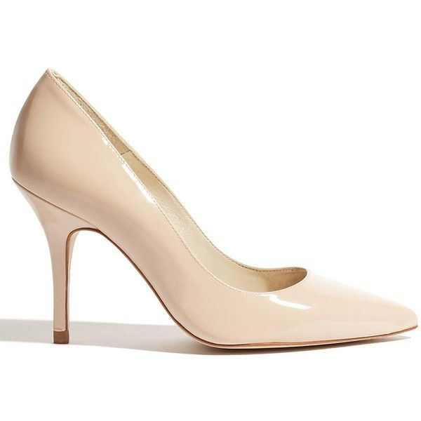 Karen Millen Patent Leather Court Shoes (€150) ❤ liked on Polyvore featuring shoes, pumps, nude, slip-on shoes, high heeled footwear, nude slip on shoes, karen millen shoes and nude patent pumps
