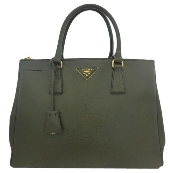 Pre-owned Prada Auth Leather Ghw Dark Green Tote Bag ($2,888) ❤ liked on Polyvore featuring bags, handbags, tote bags, dark green, leather shoulder tote, prada tote, zip tote bag, prada handbags en prada purses