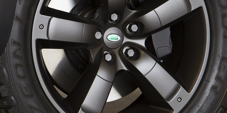 Closeup shot of the wheel of the Land Rover DC100 concept vehicle. #LandRover