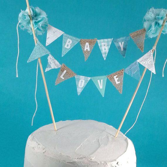 Burlap Aqua baby shower reveal shower cake by Hartranftdesign