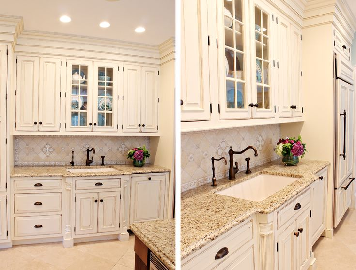 Left: Glass Front Cabinets Are Ideal For Display Pieces. A Dishwasher Is  Concealed Behind