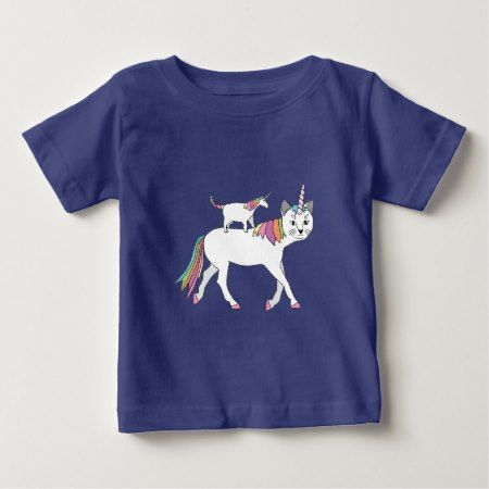 Cat Unicorn Riding Unicorn Cat Baby T-Shirt - tap, personalize, buy right now!