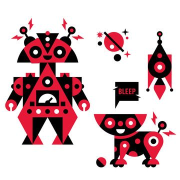 Red Robots DecalIllustration Luke, Kowallaa Kids, Red Robots, Kowallaa Products, Luke Bottes, Fun Kids, Kids Wall Decals, Red Robit, Robots Decals