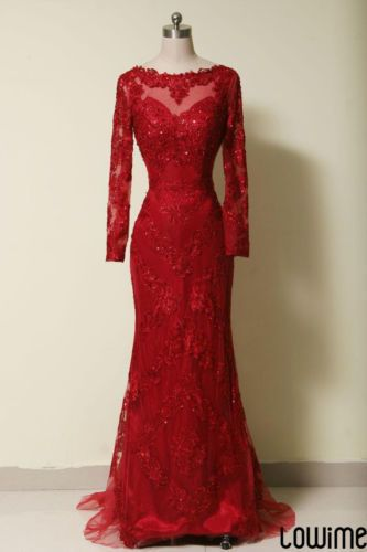 Red Lace Wedding Dress Evening Dress Bridal Gown