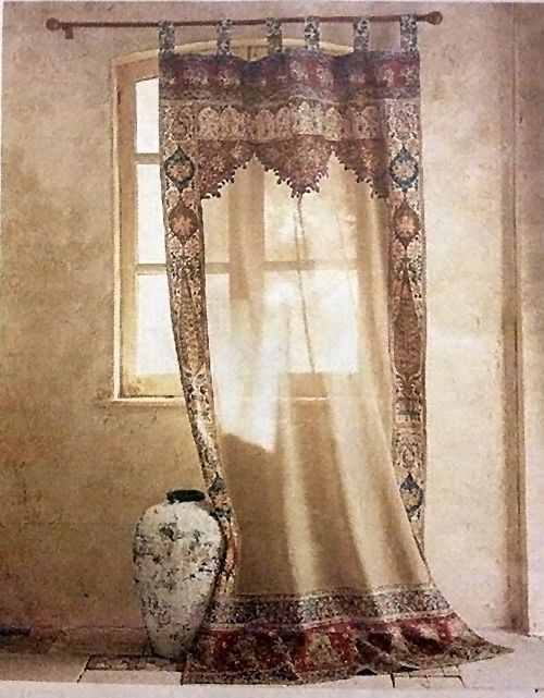 Has anyone ever seen anything like this curtain panel? This picture is from Neiman Marcus/Horchow back in 2004. YES I've kept a printout ever since then! Love this, still think about it. It was sold out. I like the mesh center with the border. Any ideas even for a sari style that could be cut and mesh inserted, I can do that, I can sew. And ... enjoy this picture, isn't it beautiful!