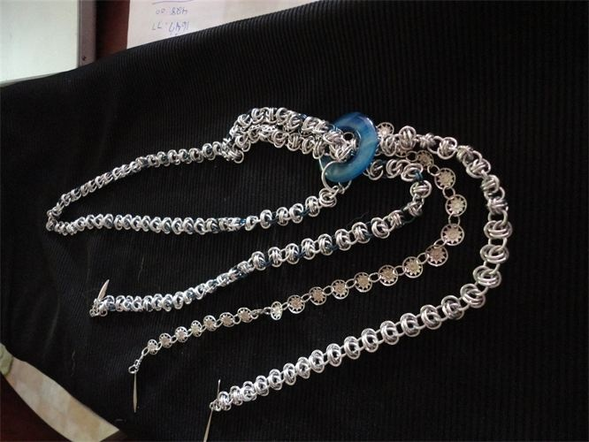 Long flapper style necklace,  Barrel Weave with blue circle stone