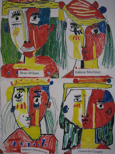 2nd grade art Picasso self portrait cubism primary colors art lesson elementary project drawing
