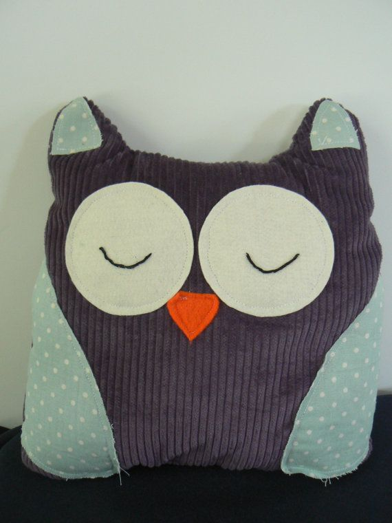 Soft and Cuddly Sleepy Owl Cushion available at www.etsy.com/lizziedoodlesnz