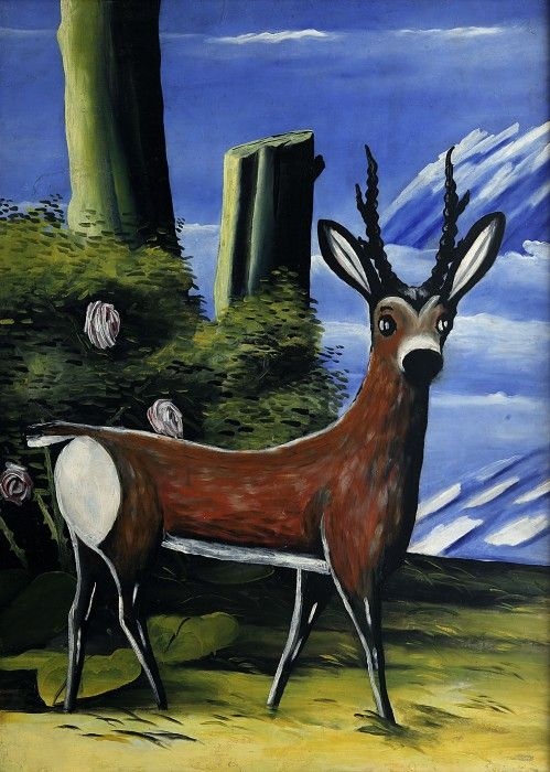 Niko Pirosmani - Roe Deer with a Landscape in the Background (1913)