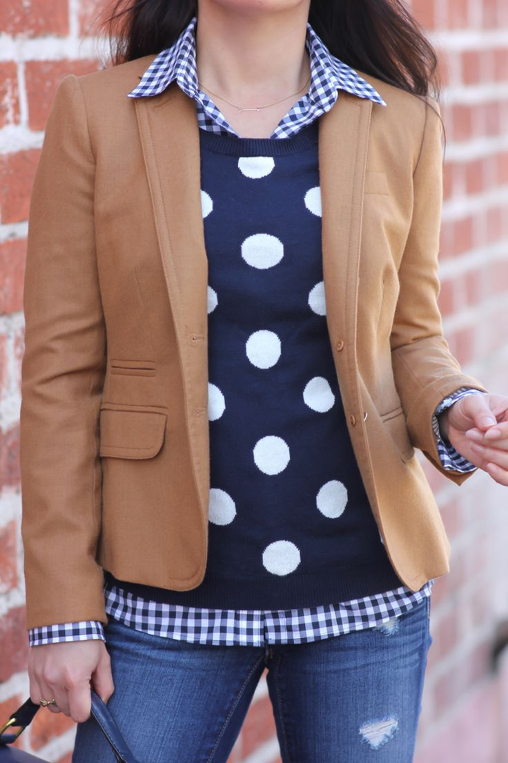 Preppy casual outfit - petite gingham shirt, J.Crew schoolboy camel blazer, polka dot sweater // Click the following link to see outfit details and photos:   http://www.stylishpetite.com/2015/02/preppy-layers-gingham-shirt-polka-dots.html