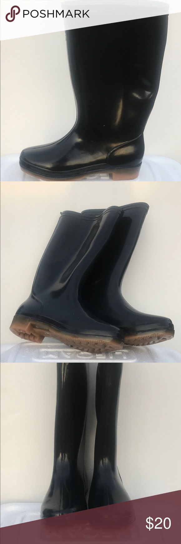 Rubber rain boots Simple rubber rain boots brown soles 13in tall from heel to top Shoes Winter & Rain Boots