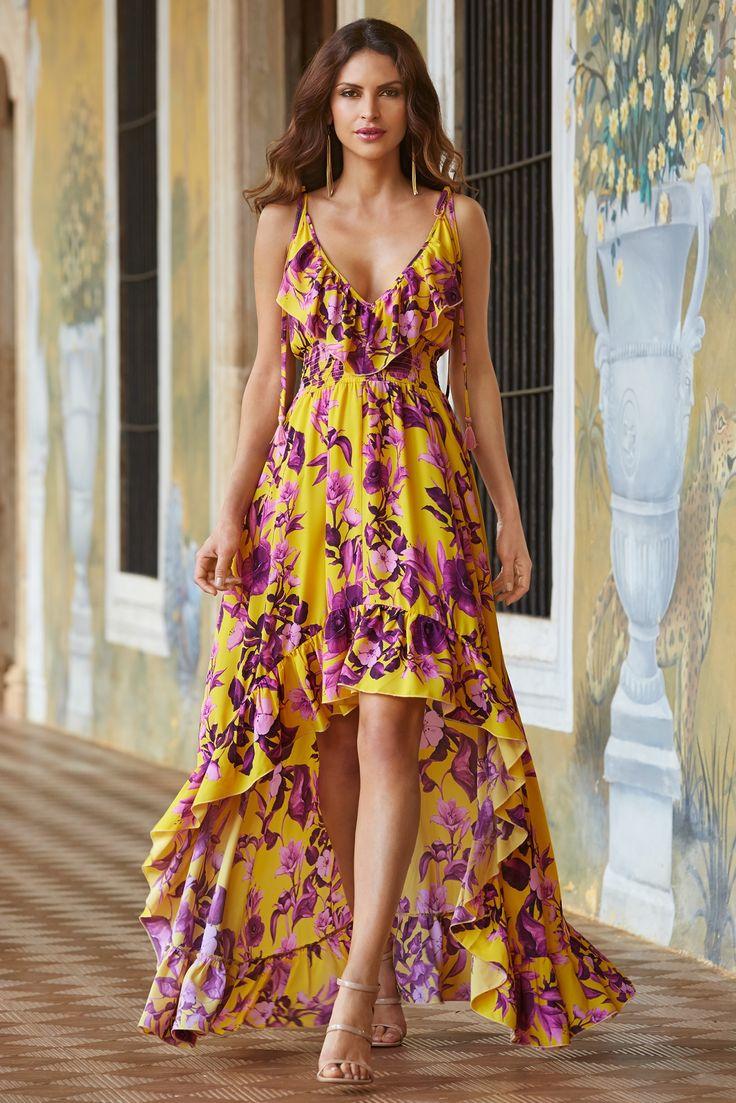Trending Fashion   Women's Yellow Golden Lily Maxi Dress by Boston Proper.