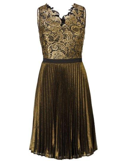 befd6afe4ce436 Kanten jurk met plissé rok Zwart