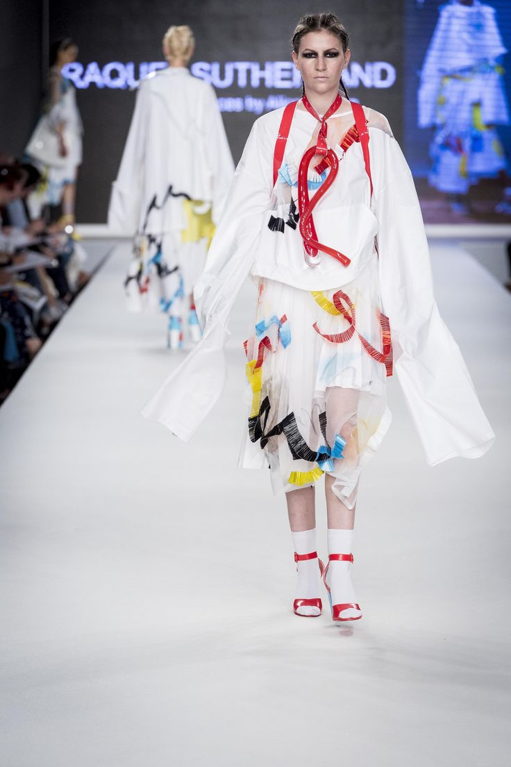 CLASS OF 2016 Graduate Fashion Week (GFW). Raquel Sutherland's womenswear is inspired by happy accidents and incorporates glass structures designed and made in collaboration with Design Crafts student Alice Heaton.