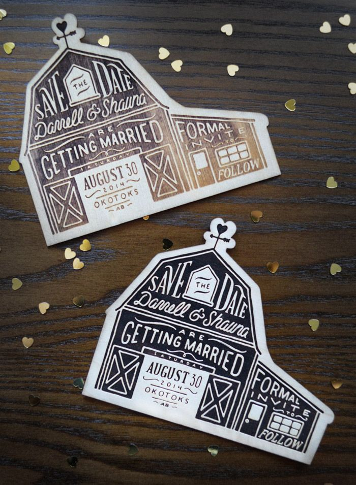 ShaunaLeudtke_Wedding_05, handlettering design, etched on wood. Save the dates, very artistic!