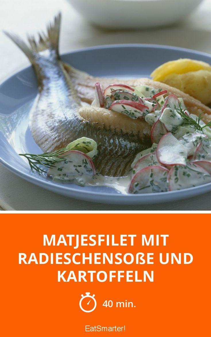 Matjesfilet mit Radieschensoße und Kartoffeln