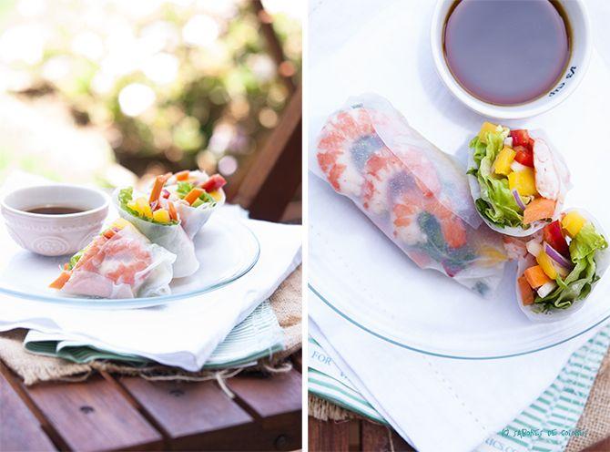 Sabores de colores: Rollitos de primavera fríos con langostinos, mango y salsa de pimentón y miel. {VÍDEO RECETA}
