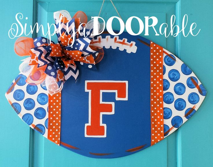Florida Gators Football Wood Door Hanger by Simply aDOORable!  Football Decor, Football Door Hanger, Gators Decor, Florida Gators Wreath by SimplyaDOORableNC on Etsy