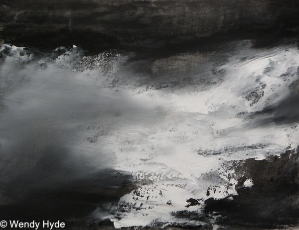 White sea, Land Abstract part of the Winter series, expressing the power and beauty of land, sea and sky. Framed under plexi glass frame measures 57W x 47H (see work in situ for frame
