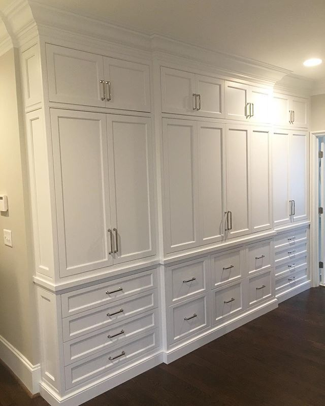 Idea for entertainment center  For my friends who dig cabinetry porn--new built in wall for our client's Master Bedroom. The cabinetry is recessed into the wall so the drawers are deeper than they look from the front and take up less space in the bedroom 👏🏼👏🏼👏🏼 • • • #amyvermillioninteriors #AVIClientProject #interiors #design #home #decor #interiordecorating #instahome #renovation #custom #details #architecture #decorating #organization #bedroom #closet