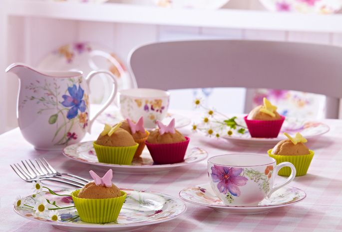 пирожное, цветы, чашки, кексы, еда, Десерт, сладкое
