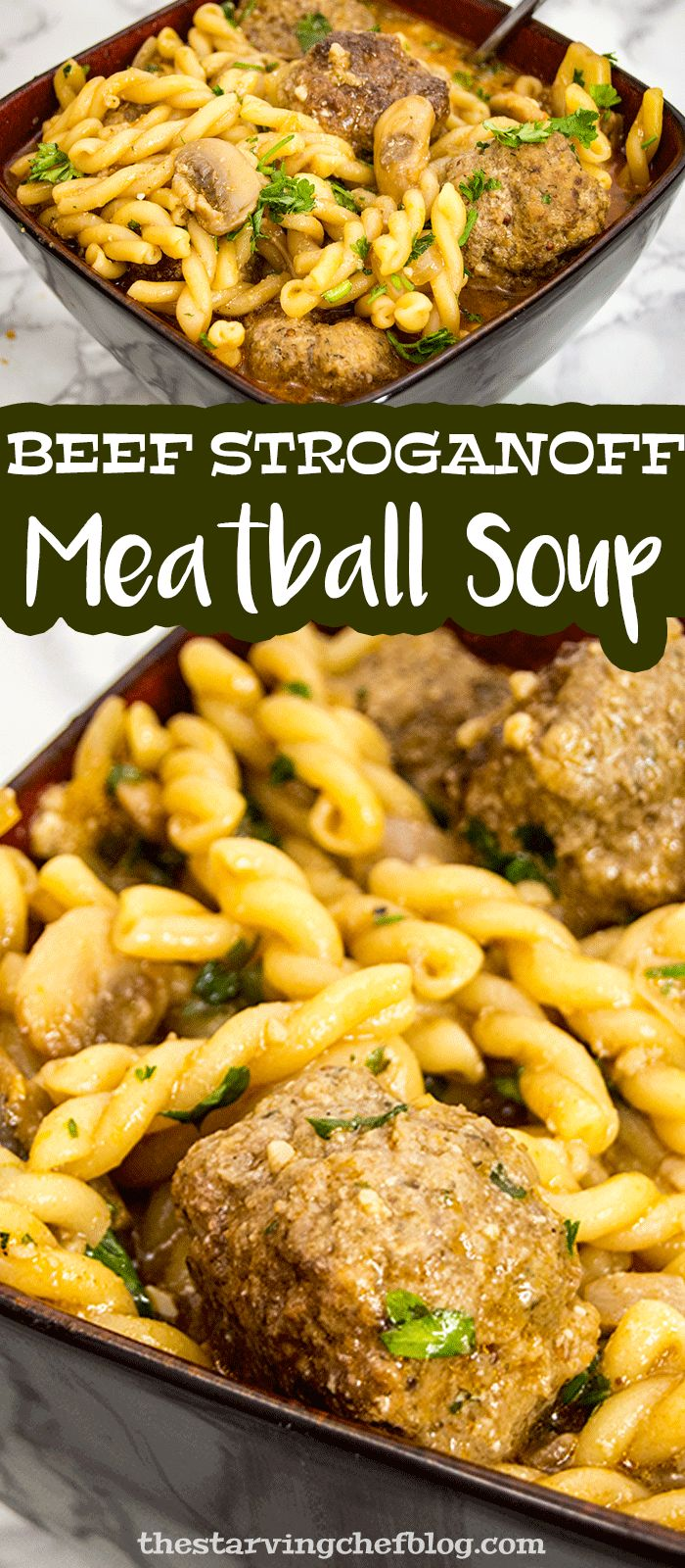 The Starving Chef | Beef stroganoff meatball soup - cooked in a Dutch oven over the stove, ready in less than an hour!