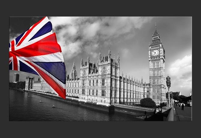 Stampa su tela Big Ben con bandiera di Londra