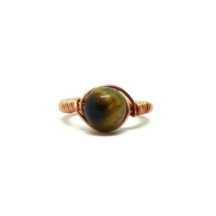 Copper Tigers Eye Gemstone Wire Wrapped Ring, Chakra Ring, Healing Gemstone, Unique Birthday Gift, Size 8 Gemstone Ring