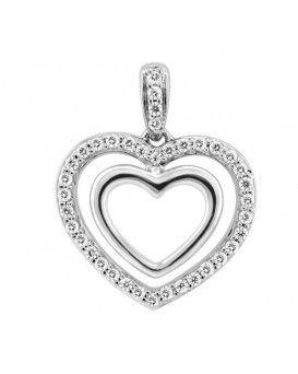 Dual Heart Diamond Pendant