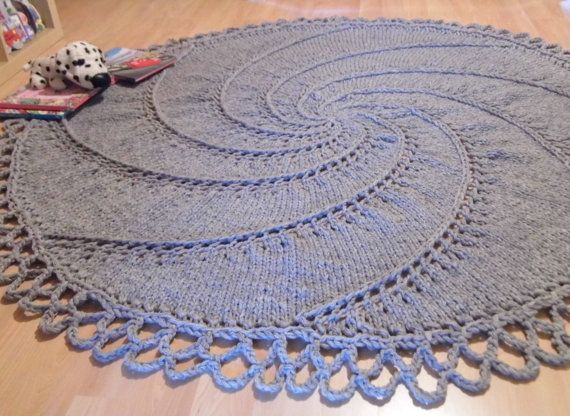75'' Big Stitch Hand knit Wool Rug natural gray