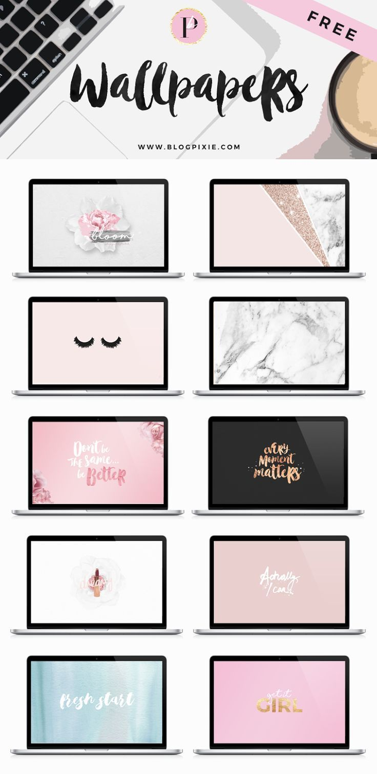 FREE desktop wallpapers for you to download! 10 background freebies with pink, rose gold, glitter, marble + more!   www.blogpixie.com